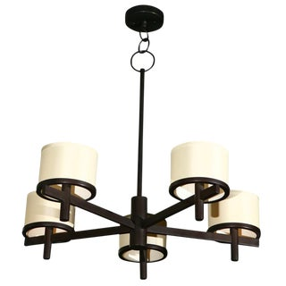 Paul Marra Five Arm Silk Drum Chandelier