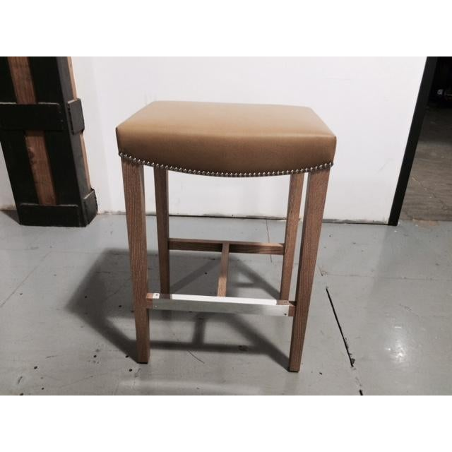 Image of Custom Holly Hunt Leather Barstools - Set of 3