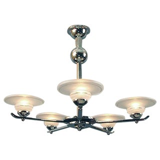 A Large and Bold French Art Deco/Moderne Chandelier