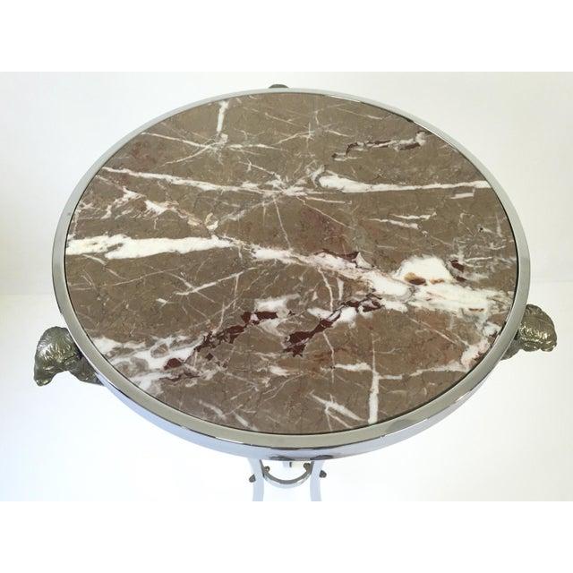 Image of Italian Regency Steel & Marble Rams Head Pedestal
