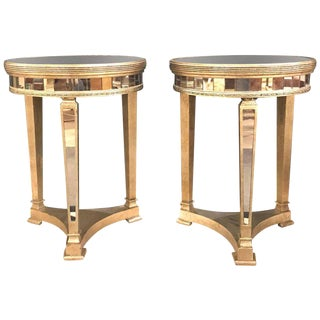 Hollywood Regency Style Mirrored & Silvered End Lamp Tables - A Pair