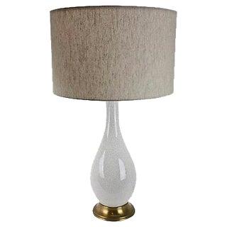 Mid-Century Modern White Crackle Lamp