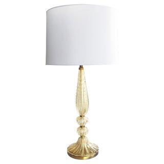 Tall and Slender Murano 1960s Gold Aventurine Art Glass Lamp