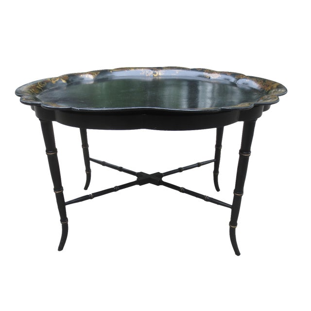 Image of Vintage British Chinoiserie Tray Table