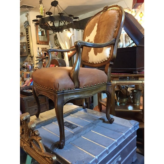 1930s Re-Upholstered Cowhide Leather Chairs - Image 5 of 11