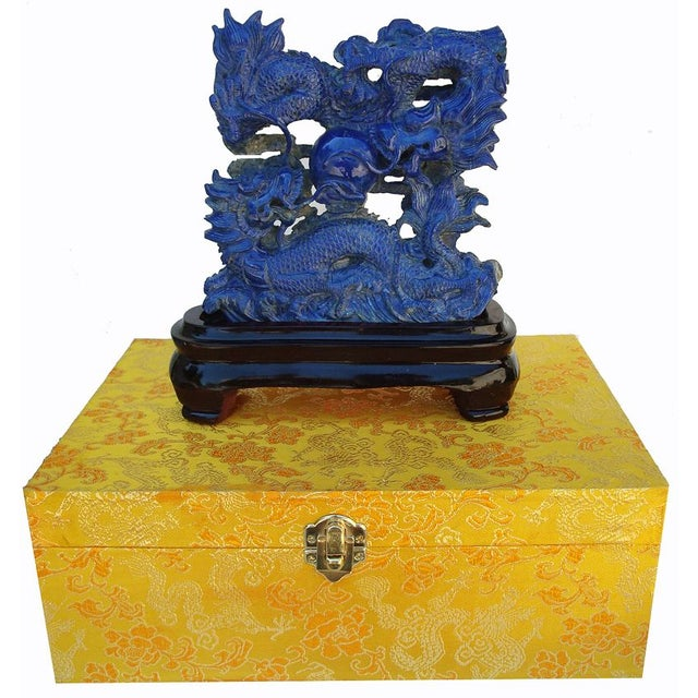 3-D Carved Lapis Asian Dragons Statue - Image 3 of 6