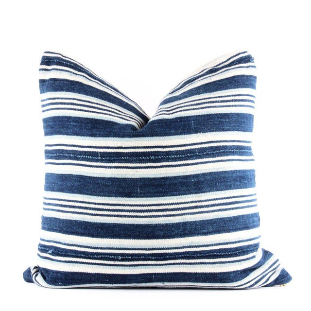 Blue Striped African Mudcloth Pillow - Image 4 of 4