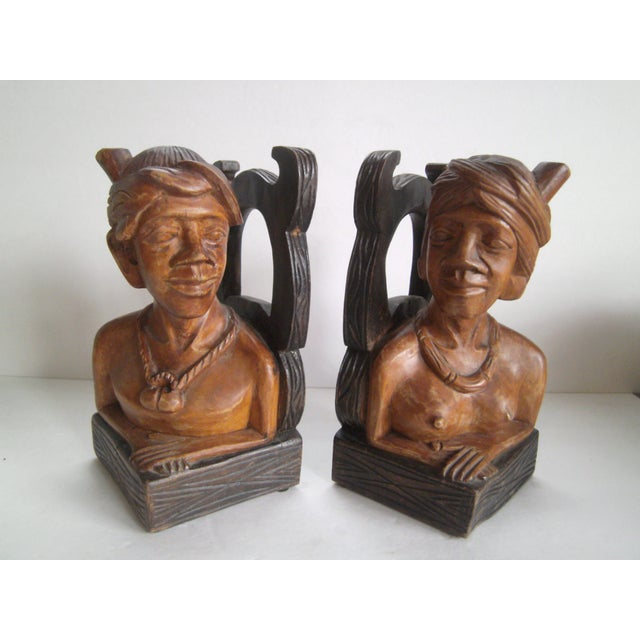 Hand Carved Wooden Bookends - Image 2 of 11