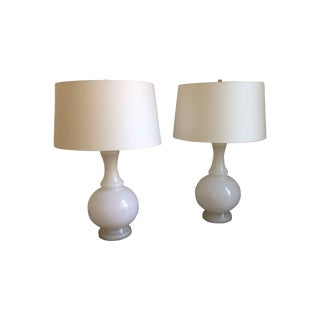 White Milk Glass Table Lamps - A Pair