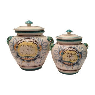 Italian Covered Ceramic Jars - A Pair