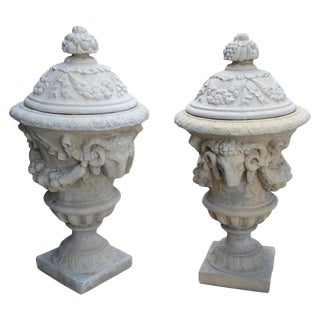 Pair of Large Cast Rams Heads Urns from France