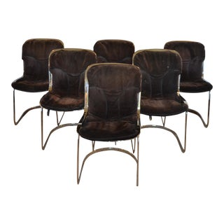 Cidue Cantilever Chrome & Brown Suede Dining Chairs - Set of 6