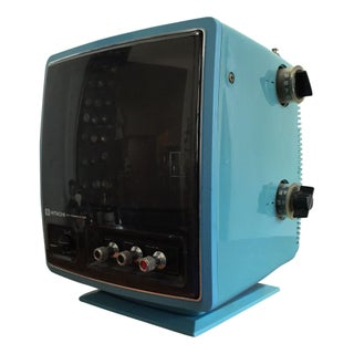 Space Age Blue Hitachi Transistor TV