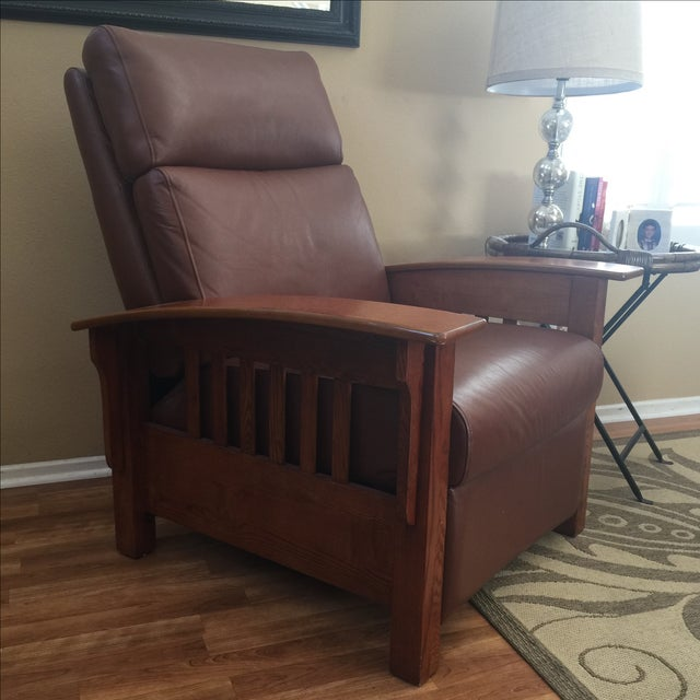 Broyhill Mission Style Brown Leather Chair - Image 3 of 4