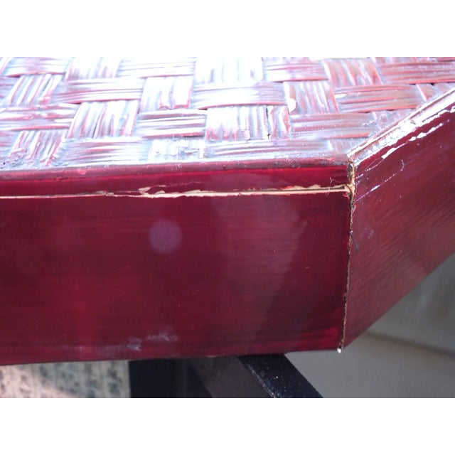 """Antique 16"""" Tall Chinese Red Storage Stools - Image 11 of 11"""