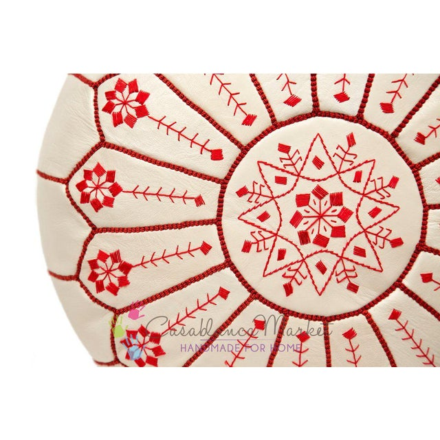 Embroidered Leather Pouf, Red on White Starburst Stitch - Image 3 of 5