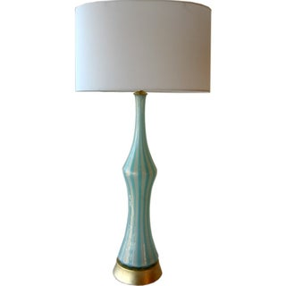 Italian Murano Blue, White and Gold Mid-Century Modern Murano Glass Table Lamp MCM Barbini Venetian Italy