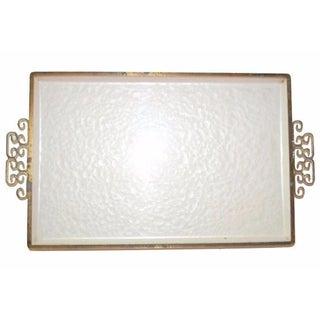White Enamel Tray with Greek Key Handles