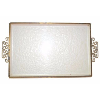 White Enamel Tray with Greek Key Handles