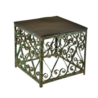 Square Iron & Stone Side Table