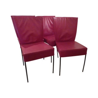 Gijs Papavoine Red Leather Side Chairs - Set of 4