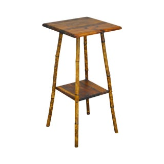 Antique Bamboo Frame 2 Tier Stand