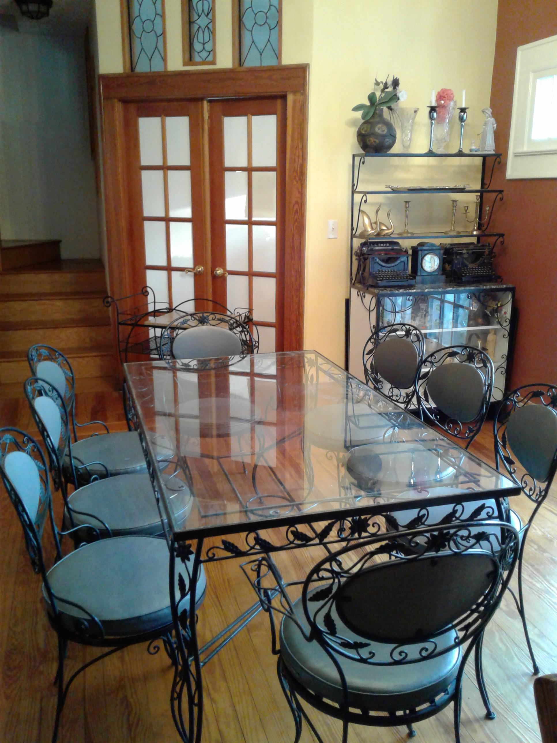 wrought iron and glass dining room set chairish wrought iron and glass dining room set glass table style