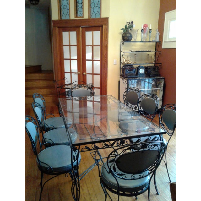 wrought iron and glass dining room set chairish