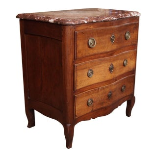 19th century French Serpentine Commode with rouge marble top