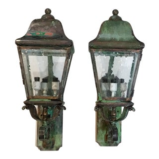 Architectural Wall Mounted Brass Lanterns - A Pair