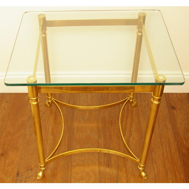 Brass & Glass Hoof Foot Side Table - Image 3 of 5