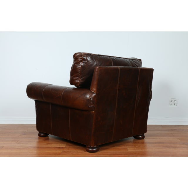 Brown Leather Chair With Ottoman - Image 8 of 11