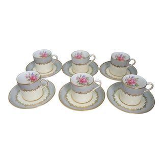 English John Aynsley Cups & Saucers - Set 6 Coffee Demitasse