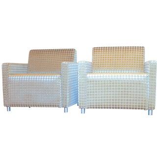 Milo Baughman Style Modern Cube Chairs - A Pair