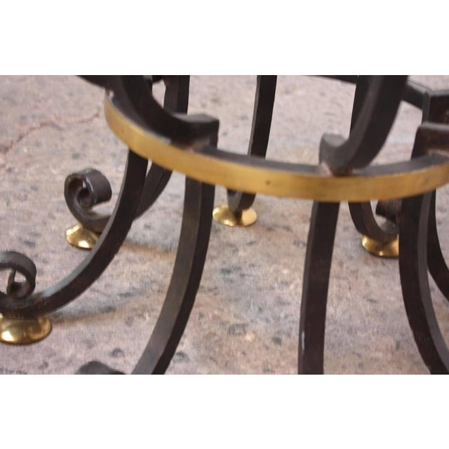 Image of Hollywood Regency Style Brass and Steel Center Table after Maitland-Smith