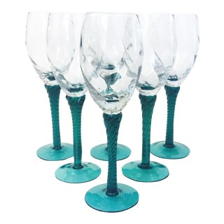 Vintage Green Stemmed Champagne Glasses - Set of 6