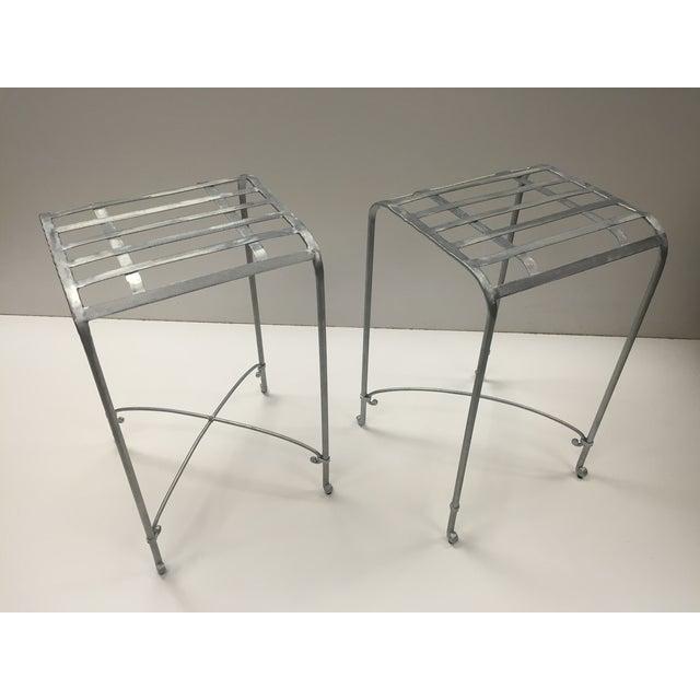 Image of Italian Galvanized Iron Counter Stools - A Pair
