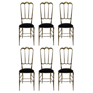 Vintage Italian Brass Chiavari Chairs - Set of 6
