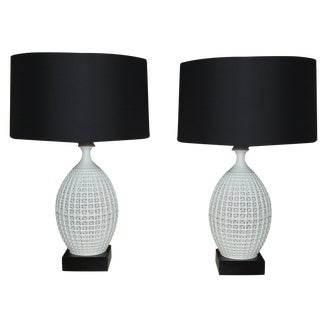 "Arteriors ""Julie"" Porcelain Lattice Lamps - A Pair"