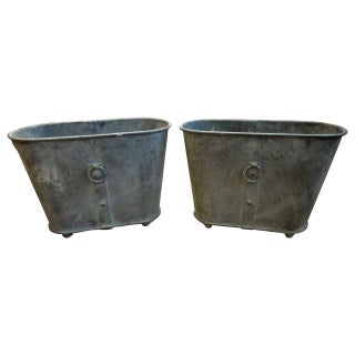 Neoclassical Zinc Oval Planters - A Pair