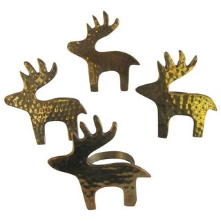 Hammered Brass Deer Napkin Rings - Set of 4