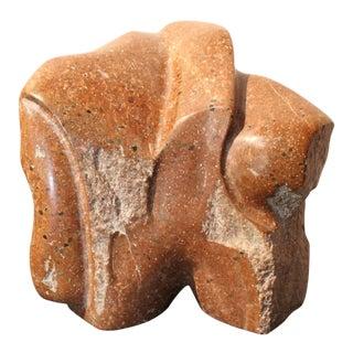 Brutalist Biomorphic Red Granite Stone Sculpture
