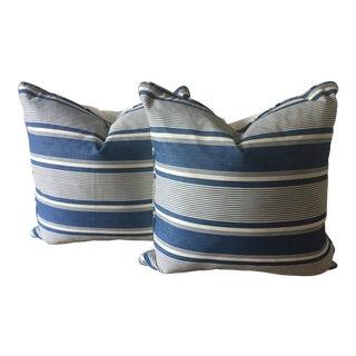 "2 Antique French Indigo Dyed Ticking Pillows-22"""