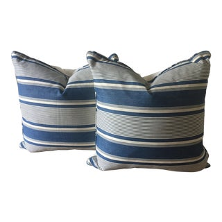 2 Antique French Indigo Dyed Ticking Pillows-22""