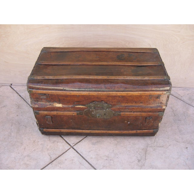 Antique Rustic Embossed Leather & Wood Trunk - Image 8 of 9