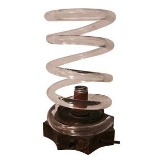 Dorothy Thorpe Brass & Lucite Spiral Lamp