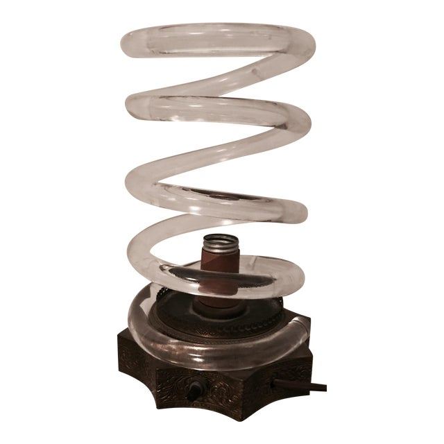 Image of Dorothy Thorpe Brass & Lucite Spiral Lamp