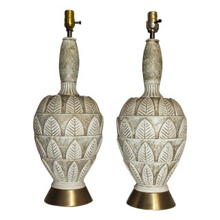 """Mid-Century 34"""" Stylized Leaf Pottery Lamps - Pair"""