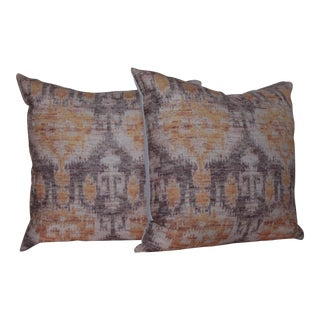 Yellow Vintage Ikat Print Pillows - a Pair-18''