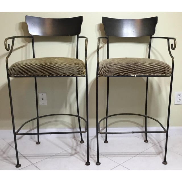 Wrought Iron Bar Stools - A Pair - Image 2 of 11